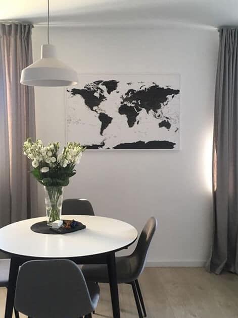 black and white canvas map of world