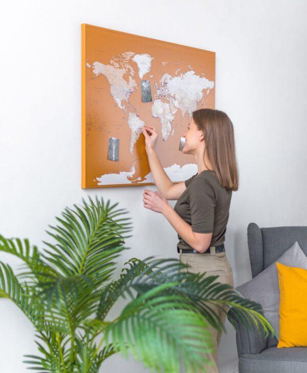 carte du monde avec des épingles miel