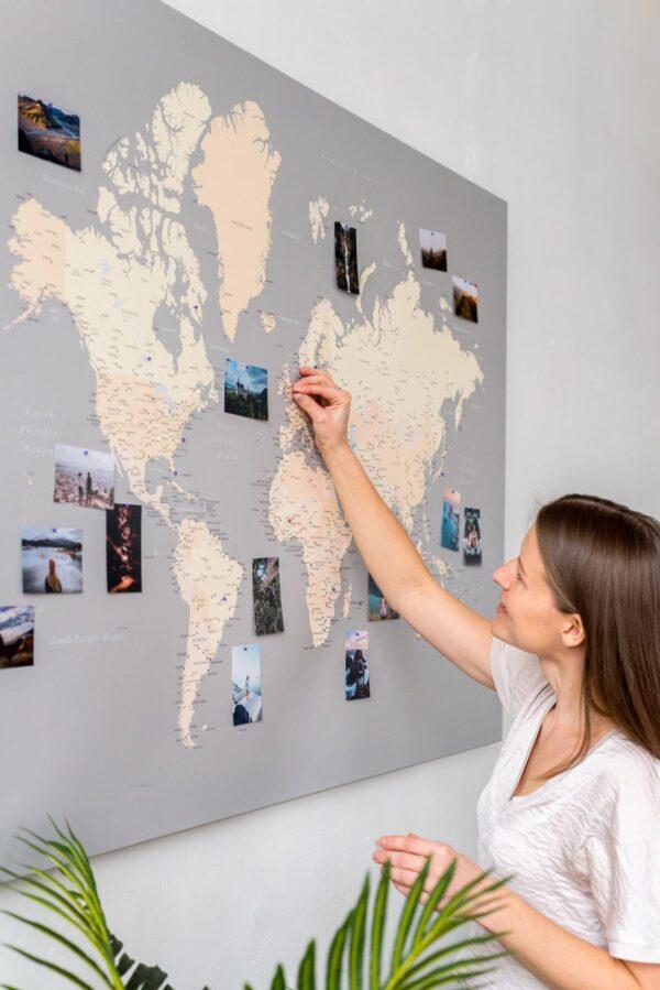 carte geographique du monde gris