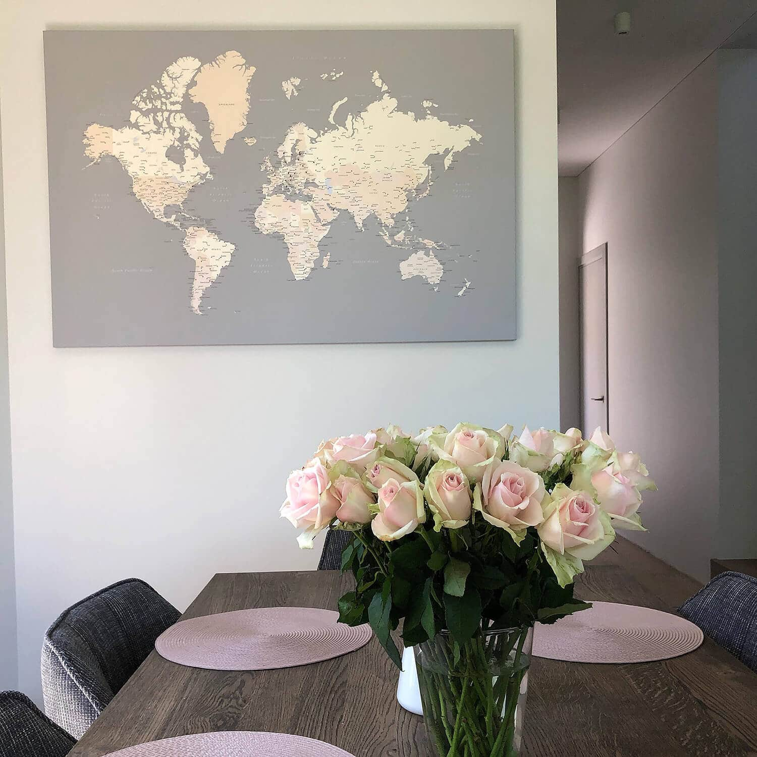 pink world map canvas poster
