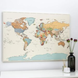 political colorful world map to track travels with pins