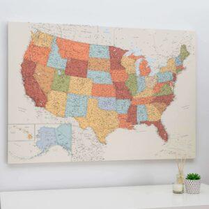États Unis carte de l États Unis avec epingles Colorée (Détaillé)