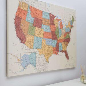 La carte de l États Unis avec épingles Colorée Détaillé