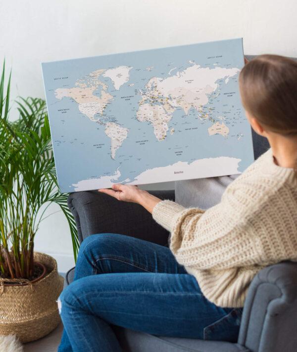 carte du monde murale bleu doux
