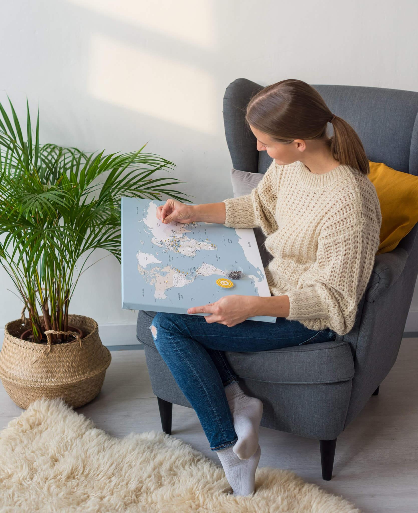 carte du monde push pin belu doux