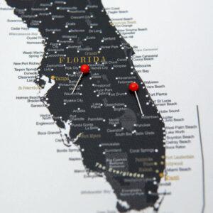 noir Carte des États-Unis mural