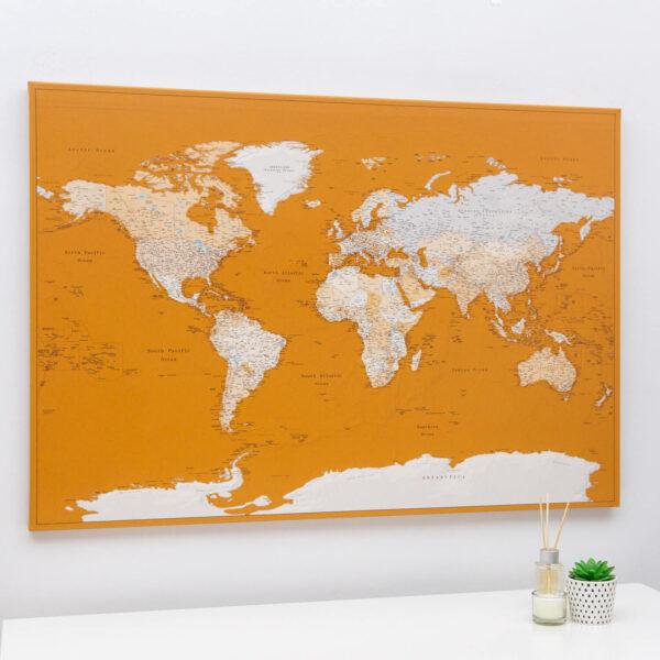 planisphère image sur toile miel