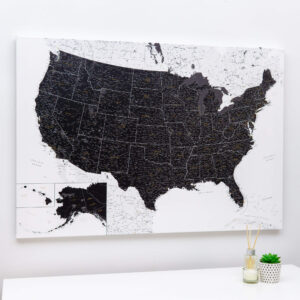 punaise Carte des États-Unis à épingles noir