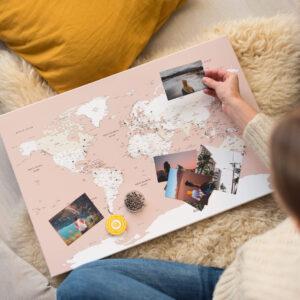 rose carte du monde décoration