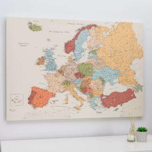 toile carte de l'europe murale coloree