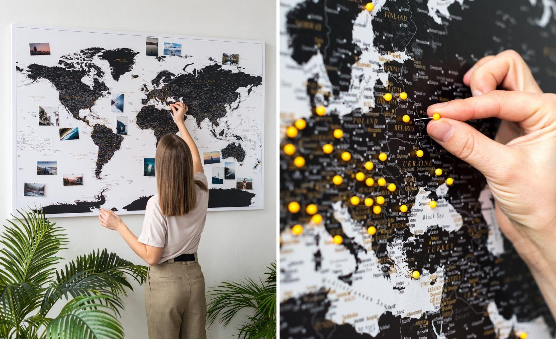 carte du monde à épingler tripmap